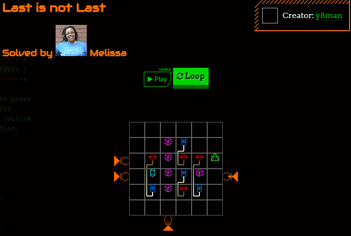 Screenshot of the replay feature, showing a puzzle poised to play back the solution